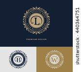 luxury logo template flourishes ... | Shutterstock .eps vector #440364751