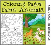 coloring pages  farm animals.... | Shutterstock .eps vector #440377891