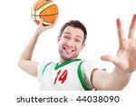 Close up of young basketball player who is dunking. Isolated on white. - stock photo