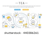 flat line illustration of tea ... | Shutterstock .eps vector #440386261