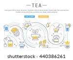 flat line illustration of tea ... | Shutterstock .eps vector #440386261
