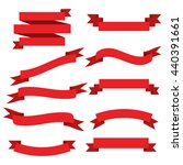 set of vector red ribbons.... | Shutterstock .eps vector #440391661
