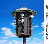 Wooden Dovecote With Pigeons