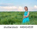 beauty romantic girl outdoors.... | Shutterstock . vector #440414539