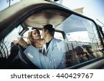pretty couple sits in an old... | Shutterstock . vector #440429767