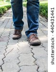 man wearing jeans and old brown ... | Shutterstock . vector #440431441