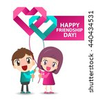 happy friendship day. girl and... | Shutterstock .eps vector #440434531