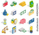 money bag icons set. isometric...
