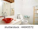 modern bathroom with tiled walls | Shutterstock . vector #44045572