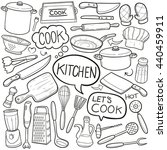 kitchen cook doodle icons hand... | Shutterstock .eps vector #440459911