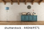retro living room with old... | Shutterstock . vector #440469571