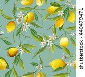 seamless floral pattern. lemon... | Shutterstock .eps vector #440479471
