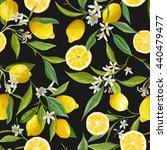seamless floral pattern. lemon... | Shutterstock .eps vector #440479477