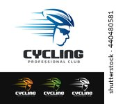 logo of a cyclist with helmet... | Shutterstock .eps vector #440480581