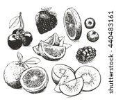 hand drawn collection of fruits ... | Shutterstock .eps vector #440483161