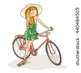 cute summer girl with bicycle... | Shutterstock .eps vector #440484505