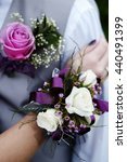 hand with corsage flowers boy... | Shutterstock . vector #440491399
