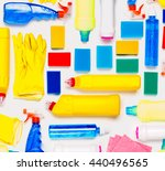 cleaning supplies on white... | Shutterstock . vector #440496565