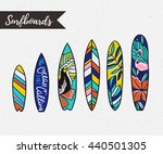 set of surfboards with tropical ... | Shutterstock .eps vector #440501305