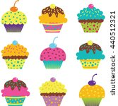 cup cake set.birthday party... | Shutterstock .eps vector #440512321
