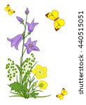 Stock vector card with flowers and butterflies 440515051