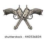crossed pistols. vintage gun ... | Shutterstock .eps vector #440536834