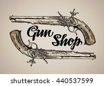 vintage vector gun hand drawn