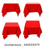 Red Tablecloth Set Isolated On...