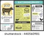 menu place mat food restaurant... | Shutterstock .eps vector #440560981