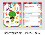 cute colorful kids meal menu... | Shutterstock .eps vector #440561587