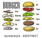 burger ingredients on white...   Shutterstock .eps vector #440574817