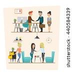 set of business meeting.... | Shutterstock .eps vector #440584339