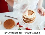 woman making the naked cake in... | Shutterstock . vector #440592655