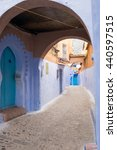 Small photo of Morocco, Chefchaouen or Chaouen is the chief town of the province of the same name. It is noted for its narrow streets and neighborhoods painted in vivid blue colors. typical Moroccan alleyway arch.