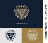 luxury logo template flourishes ... | Shutterstock .eps vector #440598595