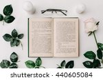 Opened Book  Glasses  Pink Ros...