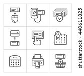 set line icons of booking... | Shutterstock . vector #440611825