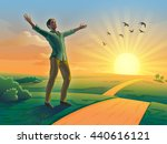 happy man with open arms in a... | Shutterstock . vector #440616121