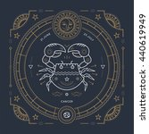 vintage thin line cancer zodiac ... | Shutterstock . vector #440619949