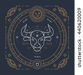 vintage thin line taurus zodiac ...   Shutterstock . vector #440620009
