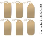 set of six carton tags with rope | Shutterstock .eps vector #440624734
