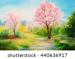 Oil Painting  Colorful Forest ...