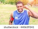 african american man jogging at ... | Shutterstock . vector #440639341
