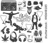 black isolated hip hop icon set ...