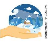 hands holding winter night... | Shutterstock .eps vector #440658691