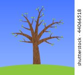 wooden tree with leaves on a... | Shutterstock .eps vector #44066518