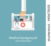 first aid kit in hands doctor.... | Shutterstock .eps vector #440675035