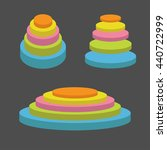 colorful round stage podium set.... | Shutterstock .eps vector #440722999