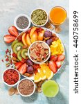 fresh seasonal fruits  juices... | Shutterstock . vector #440758699