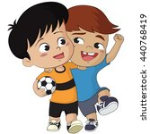 cartoon soccer kids.two... | Shutterstock .eps vector #440768419